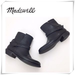 EUC Madewell The Biker Ankle Boot Black Leather